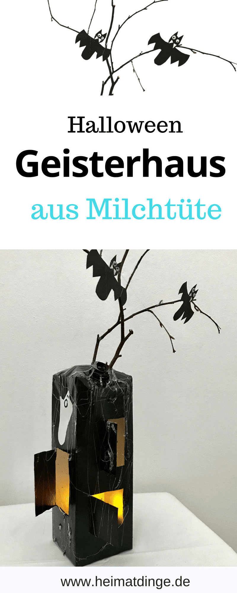 DIY Halloween Deko, Geisterhaus Laterne basteln