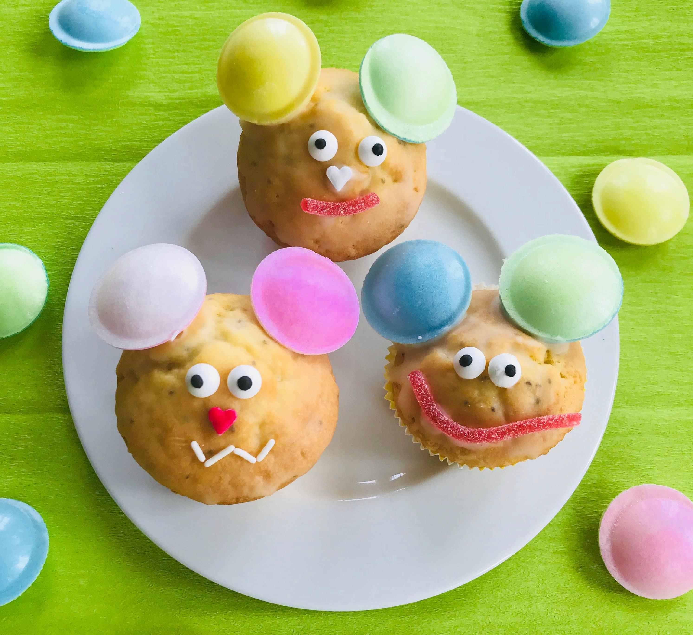 Saftige Zitronenmuffins, Rezept, lustige Muffins, Muffins fuer Kindergeburtstag