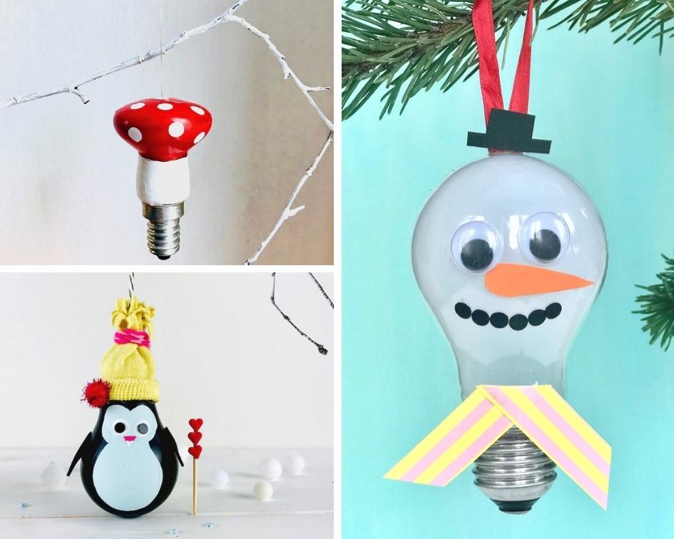 Weihnachtsschmuck, Gluehlampen, basteln, Upcycling
