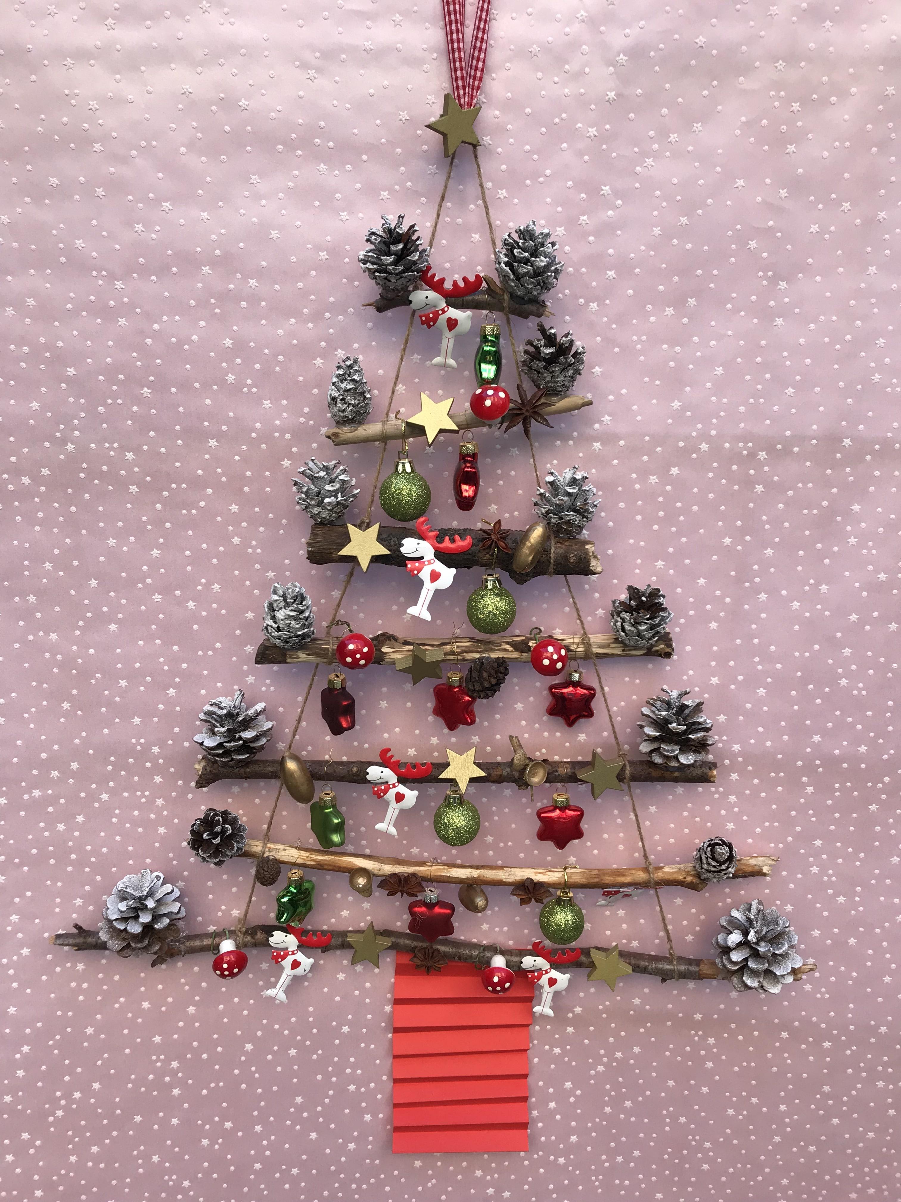Weihnachtsbaum to go, Weihnachtsbasteln mit Kindern, Geschenkidee Weihnachten, Basteln mit Naturmaterialien