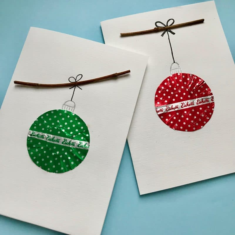 Weihnachtskarte, Christbaumkugeln, Upcycling