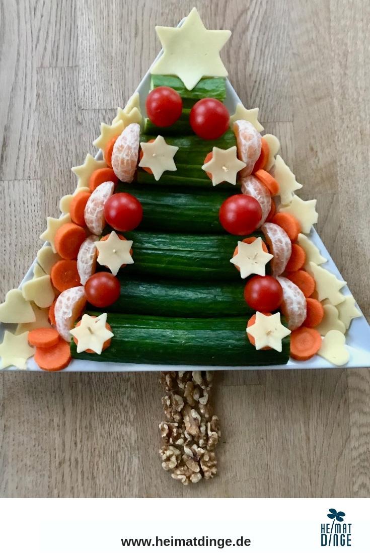 Weihnachtsbaum, Gemüseteller, gesunder Snack
