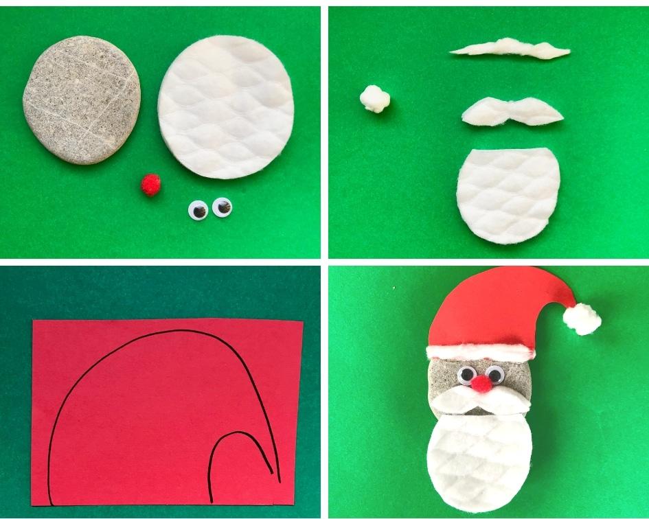 Weihnachtsdeko In 5 Min Basteln Weihnachtsmann Aus Stein