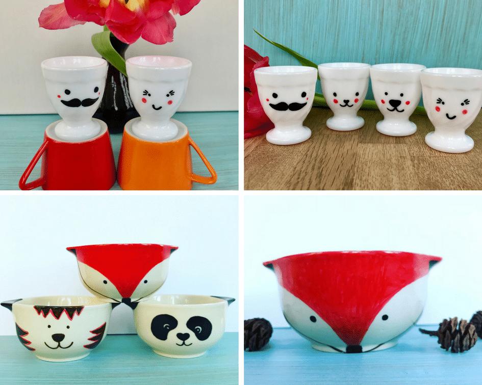 Geschirr bemalen, Pandabär, Fuchs, Tiger, lustige Gesichter