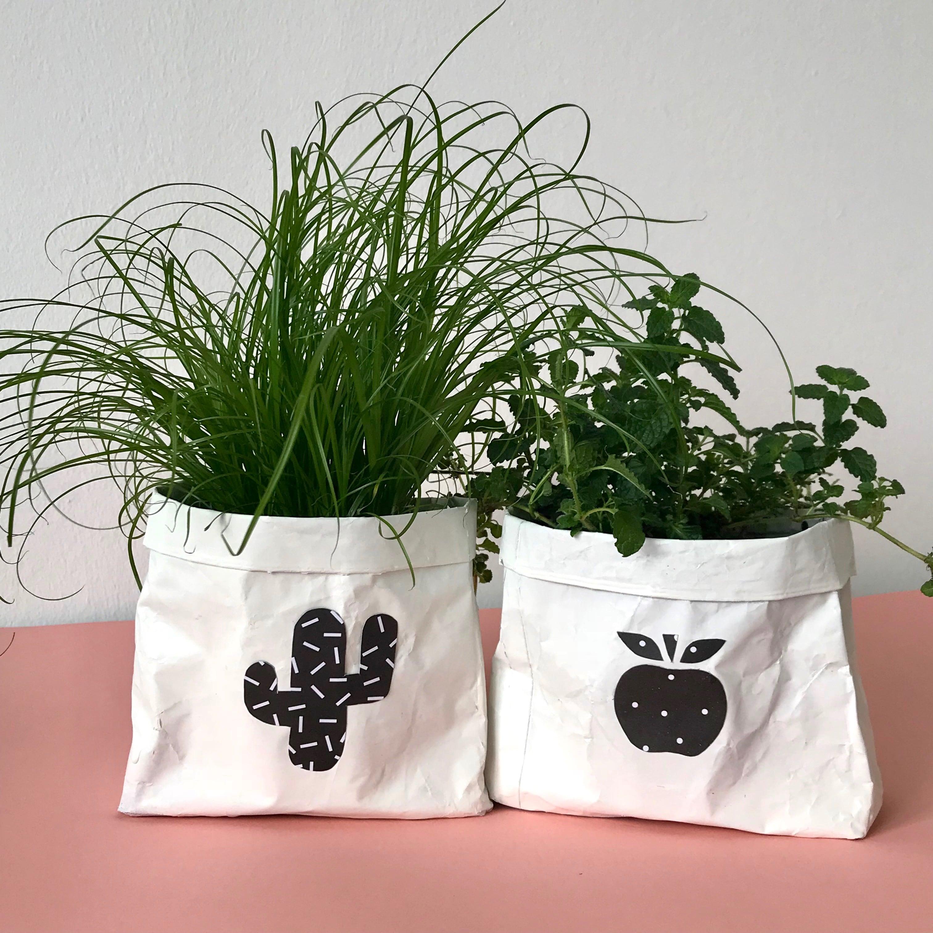 DIY Blumentopf to go, Upcyclingidee zum selber machen