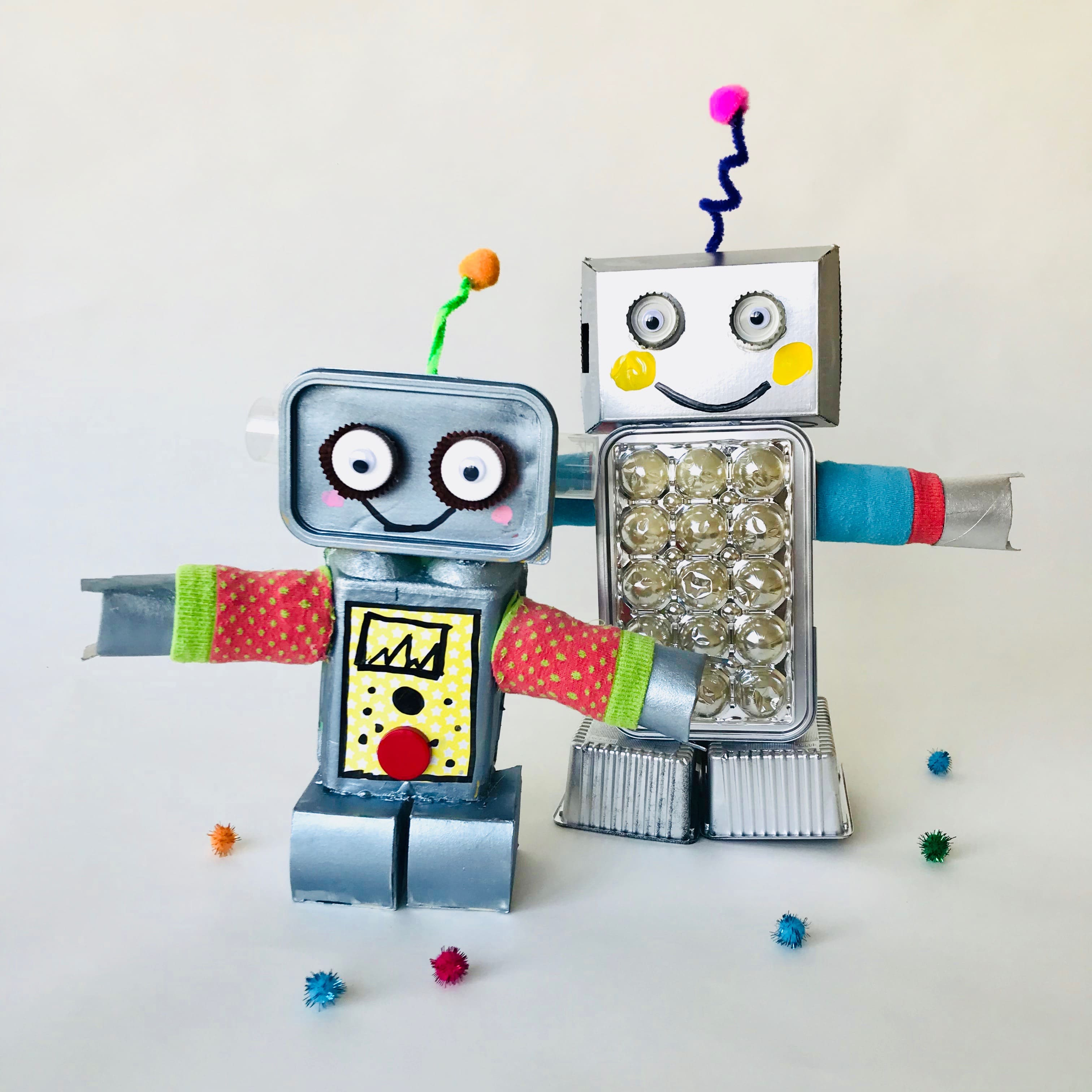 DIY Trash Roboter aus Verpackungsmaterial selber machen, Upcycling