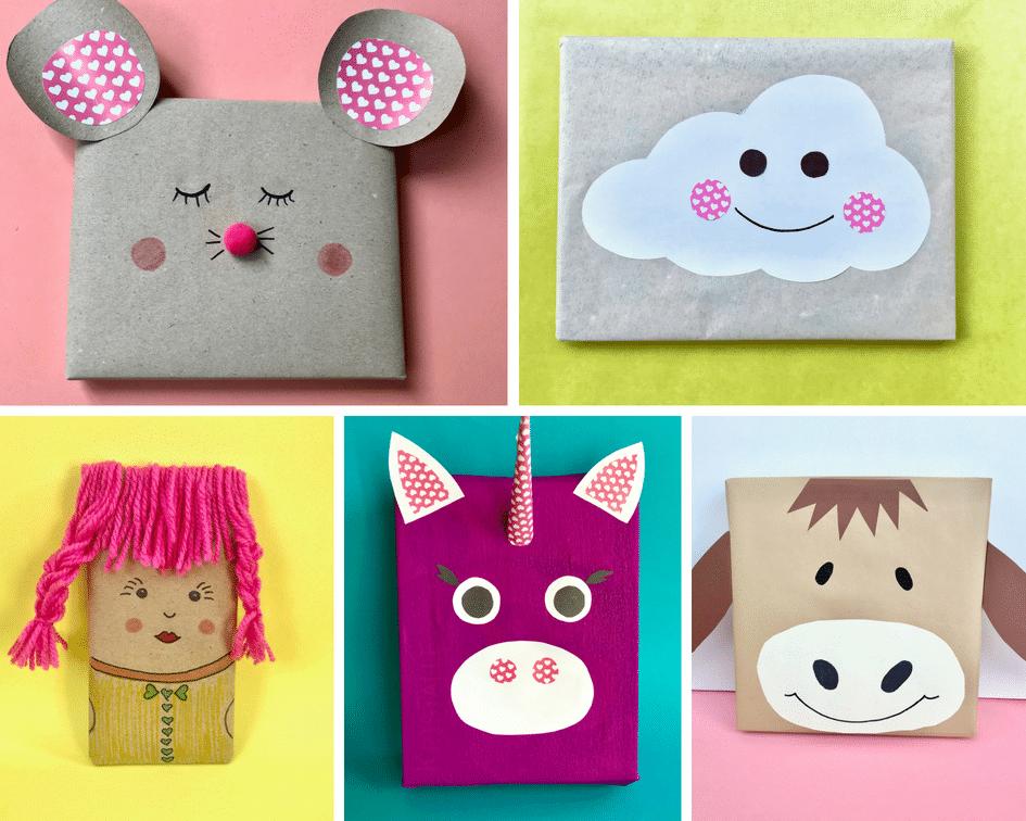 DIY Geschenke verpacken Kinder Mädchen 5er -