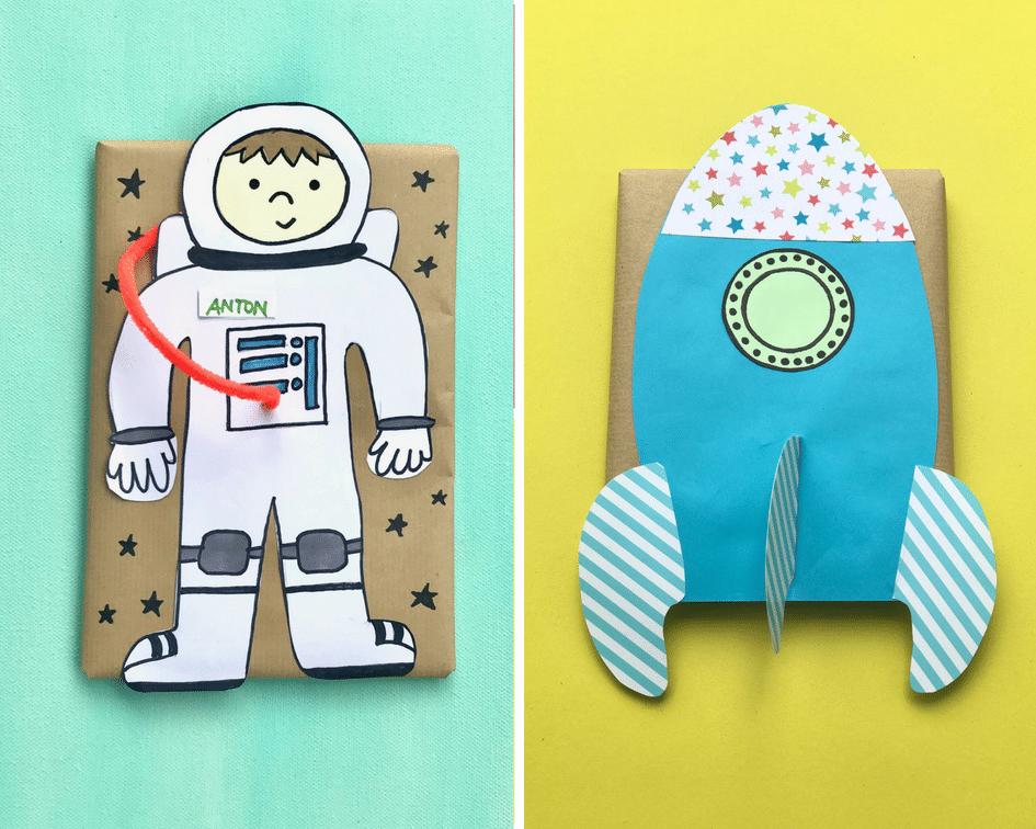 Geschenke verpacken Kinder, Astronaut, Raumschiff