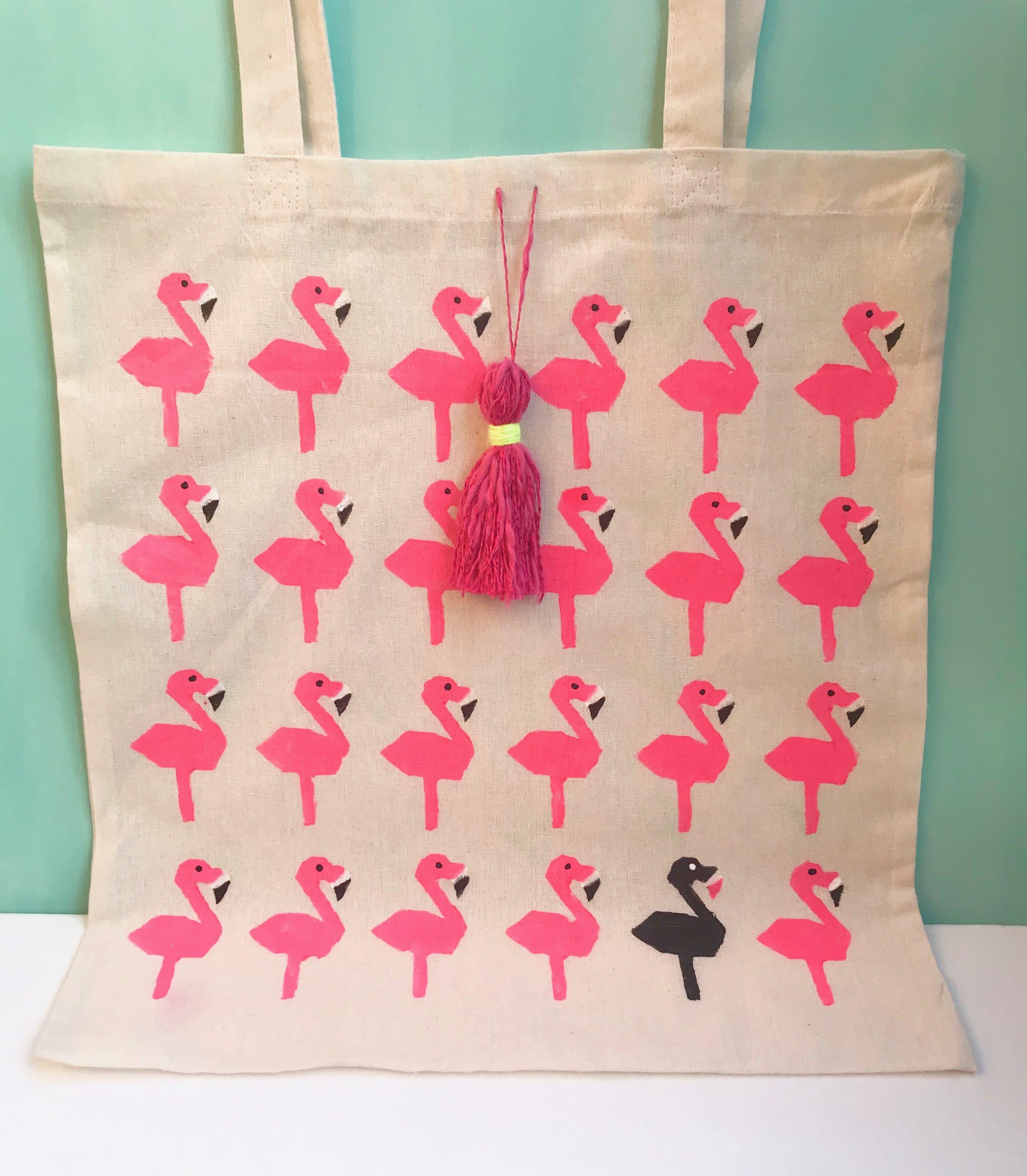 DIY Stofftasche mit Flamingo bedrucken