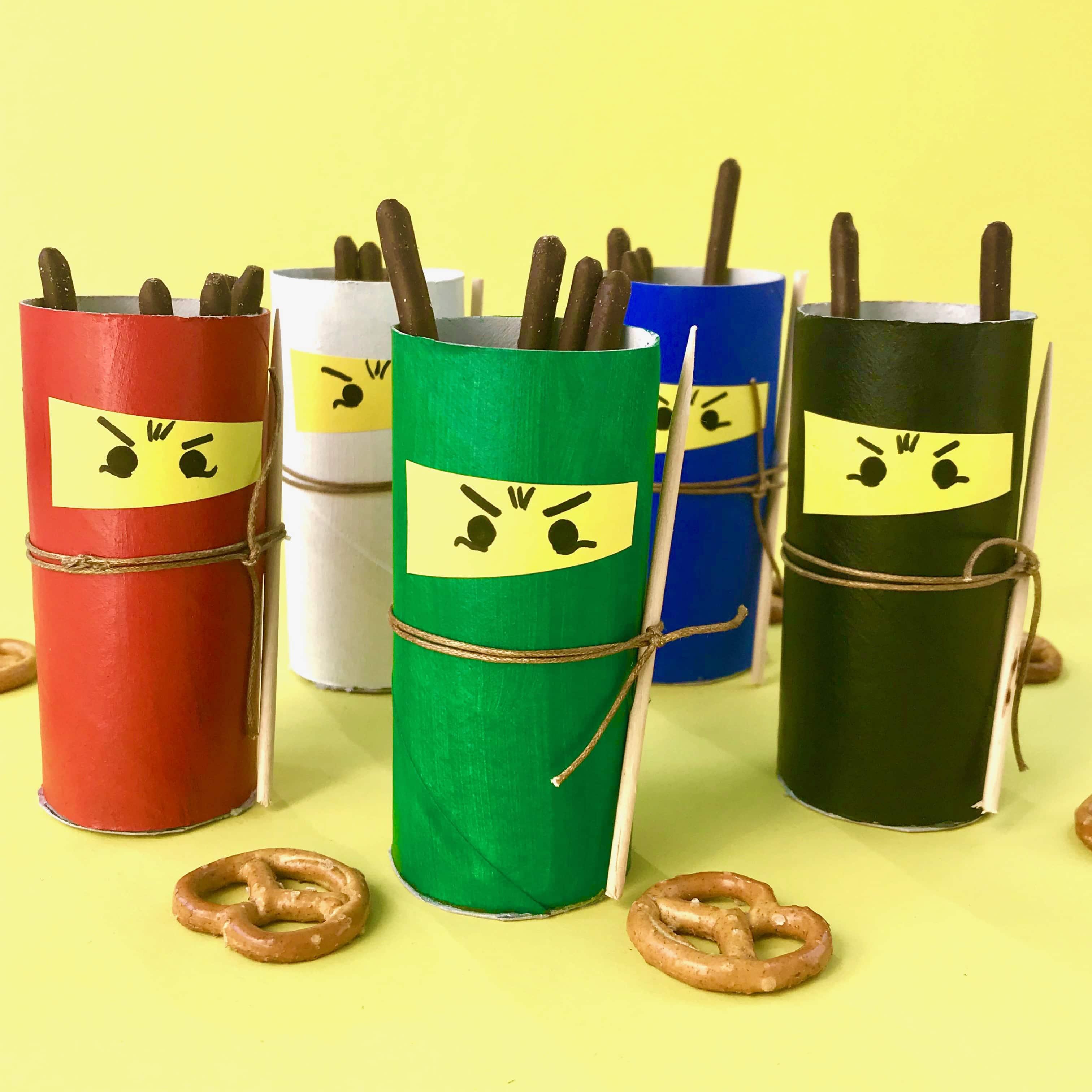 Ninjag Geburtstag Ninjas aus Klorollen selber machen, Upcycling