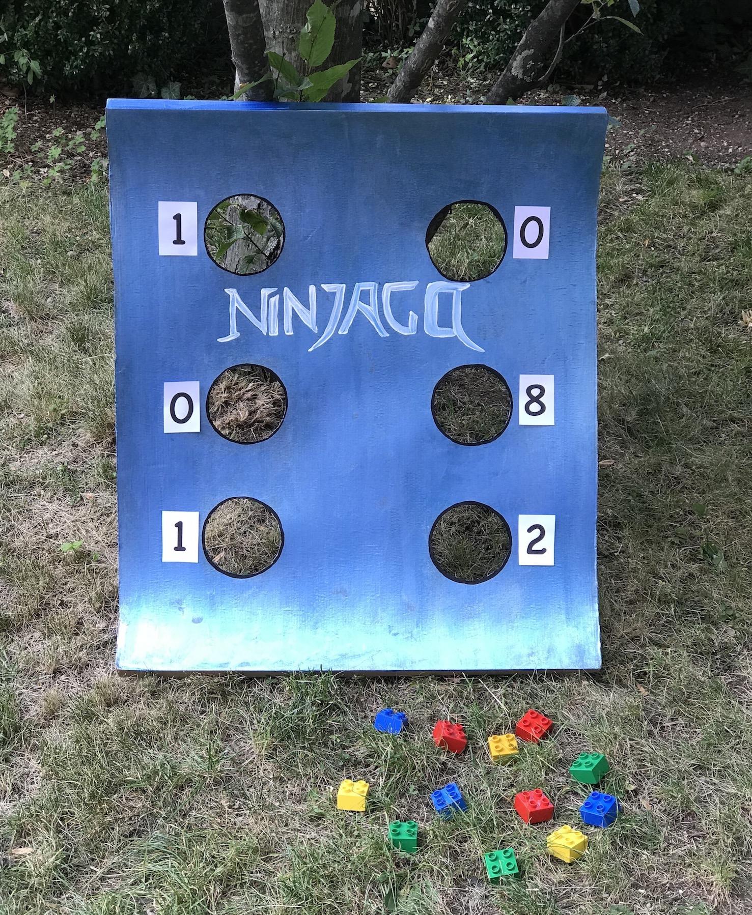 Ninjago Geburtstag Spiele, DIY Wurfspiel Zahlencode selber machen, Upcycling für Kinder