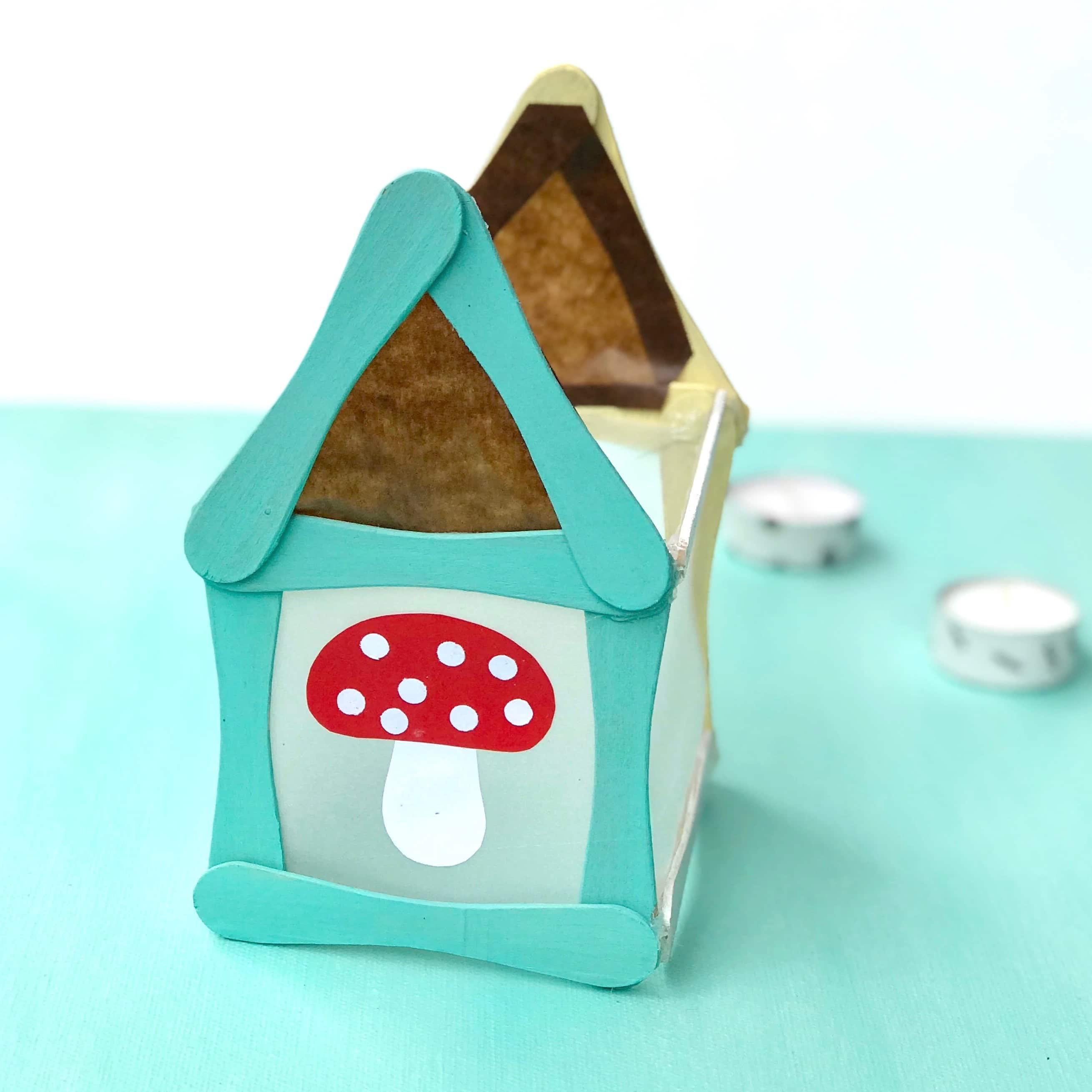 Windlicht Mit Kindern Basteln Teelicht Häuschen Aus