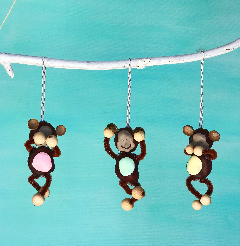 DIY Die drei Affen aus Kastanien basteln, Kastanienfiguren