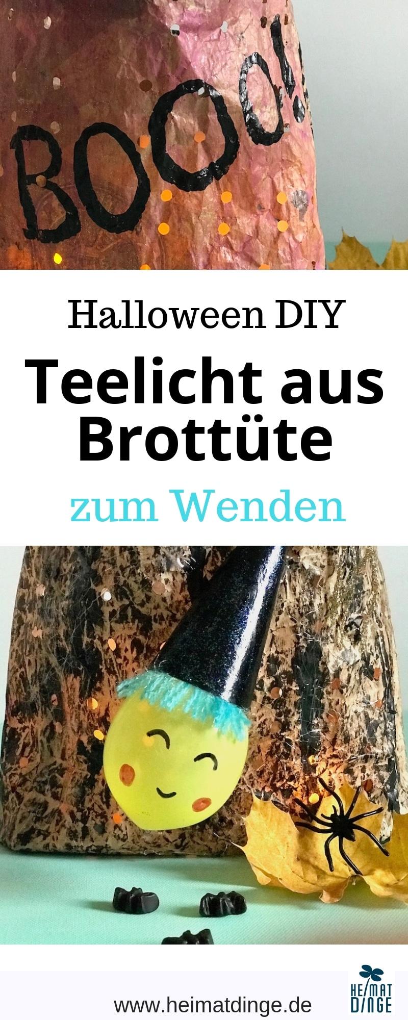 Halloween Hexen Teelicht basteln, Infografik, Upcycling