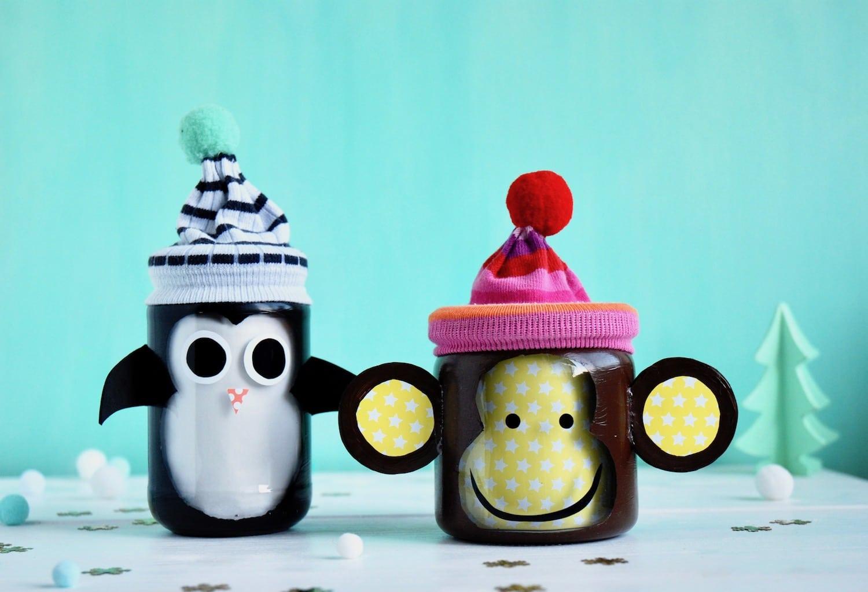 DIY Geschenk im Glas, Pinguin, Affe, Upcycling
