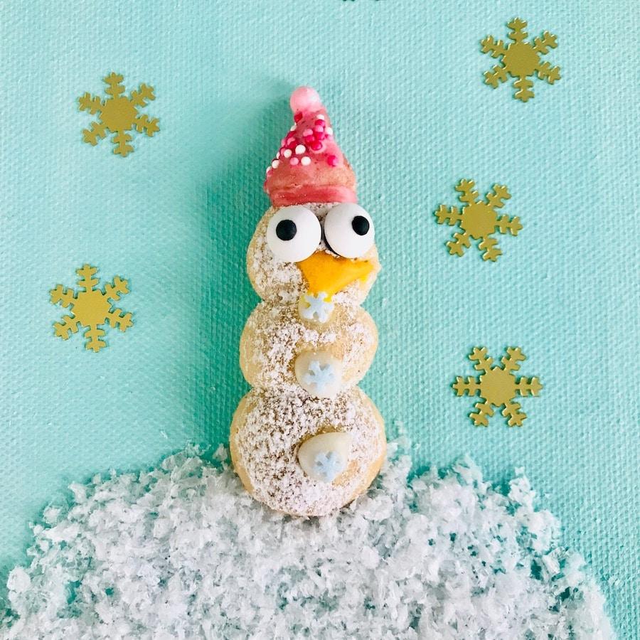 Weihnachtsplätzchen backen, Vanillekipferl backen, Schneemann, rezept für kinder