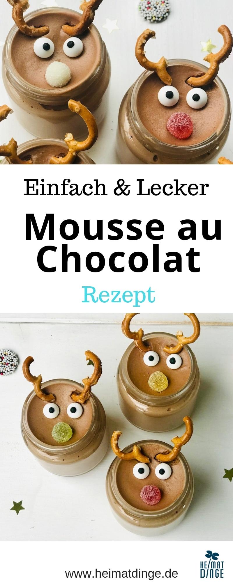 Weihnachtsdessert im Glas, Rezept Mousse au Chocolat, einfaches Rezept, Kinderdessert