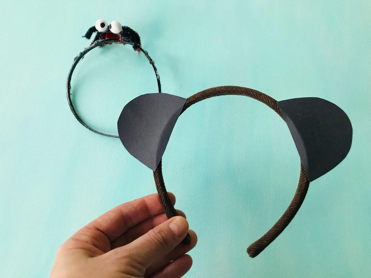 Pandabaer Kostuem fuer Kinder selber machen, einfache Bastelidee