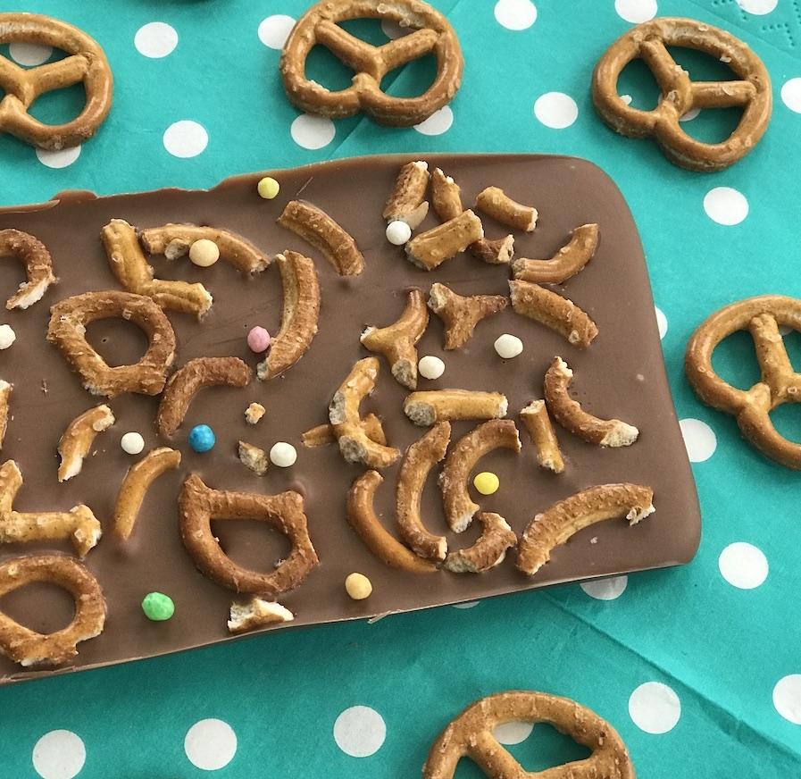 Schokolade selber machen, Salzbrezeln, Kinderparty