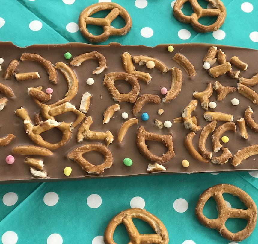 Schokolade selber machen, Salzbrezeln, Kinderparty, Spielideen