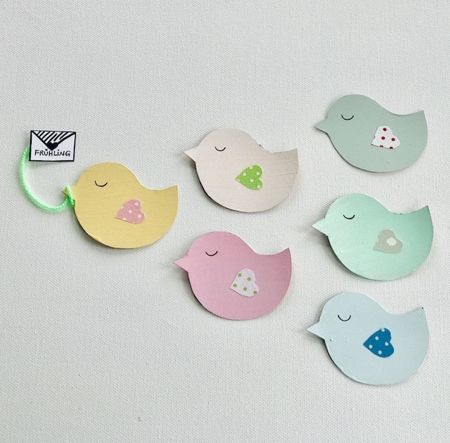Vogelgirlande, Pappe, basteln, Fruehlingsbasteln mit Kindern