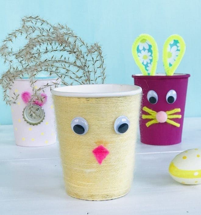 Osternest, Pappbecher, Upcycling fuer Ostern