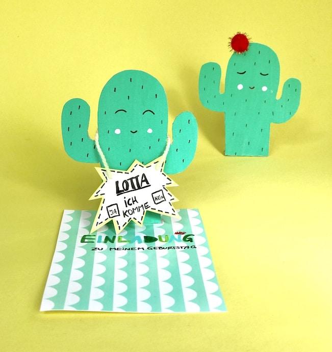 Kaktus Party, Einladungskarte basteln, Kindergeburstag