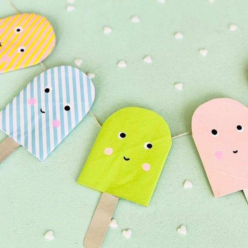 Eis basteln, Kindergeburstag nachhaltig feiern, Eis Party Kindergeburtstag, Eis basteln Grundschule, aus Alt mach Neu