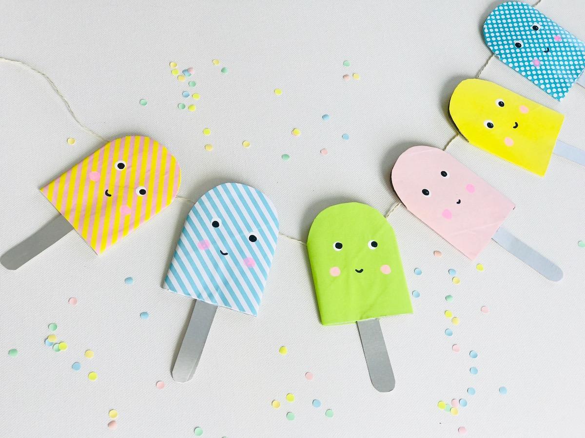 Eis basteln, Eis Girlande, Eis Party Kindergeburtstag, Eis Party ideen, umweltfreundlich, nachhaltig feiern