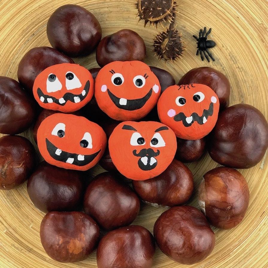 Basteln mit Kastanien, Halloween Spiele fuer Kinder, Ratespiel mit Kastanien