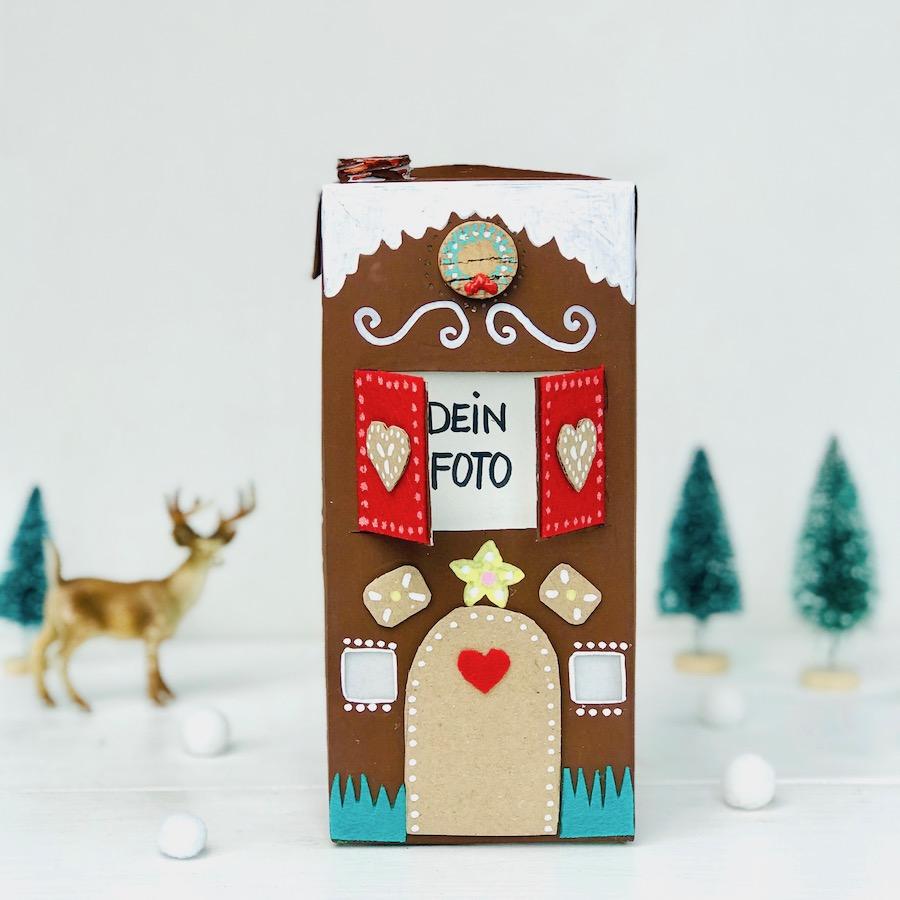 Weihnachtsgeschenk mit Kindern selber machen, Geschenk fuer Oma basteln, windlicht aus tetrapack