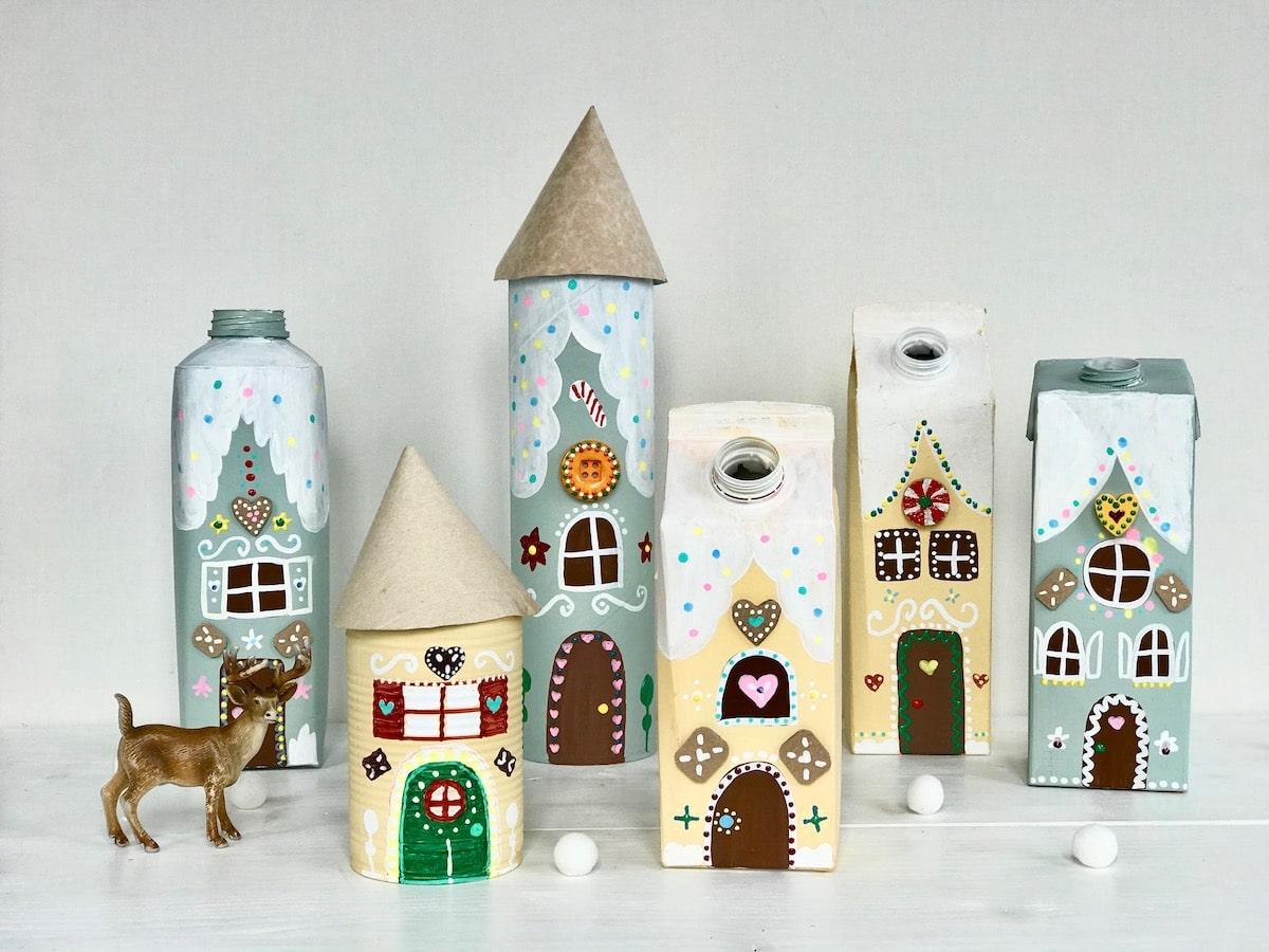 Lebkuchenhaus aus Tetrapack basteln, Upcycling Weihnachten