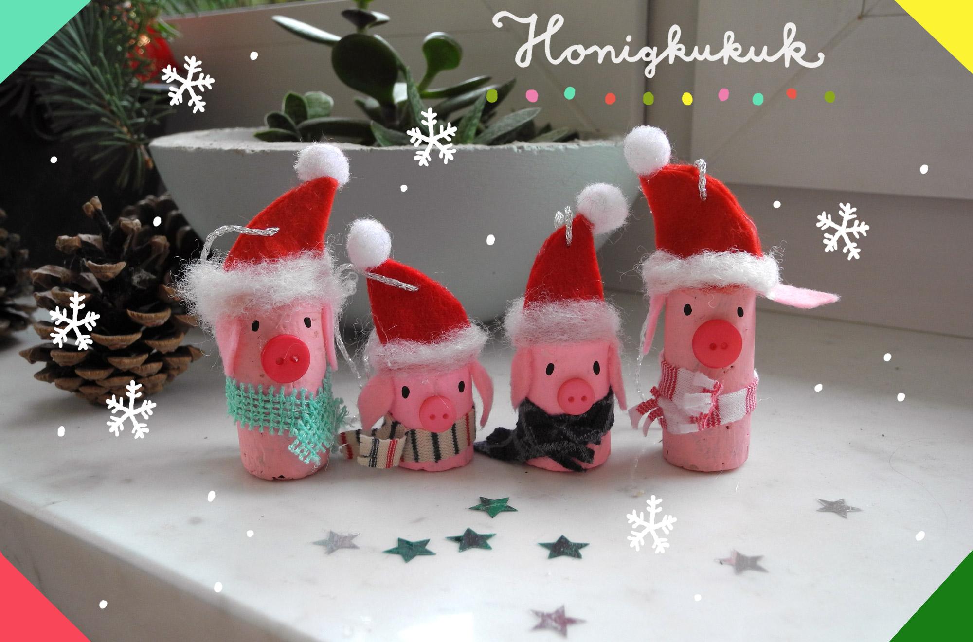 Weihnachts Anhaenger aus Korken basteln, Upcycling fuer Kinder, Weihnachtsdeko selber machen