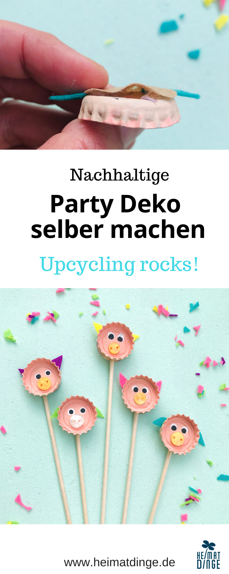 Party Deko selber machen, Upcycling Bastelidee fuer Kinder, Party Picker DIY