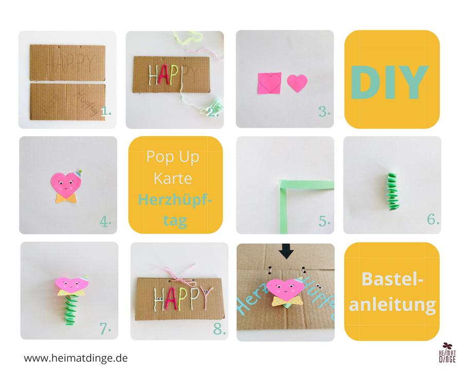 Pop Up Karte basteln Herz, Anleitung, Upcycling DIY
